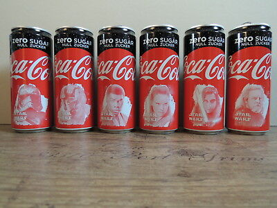 Star Wars The last Jedi Coca Cola Zero Limited Cans Collection 6 pieces complete