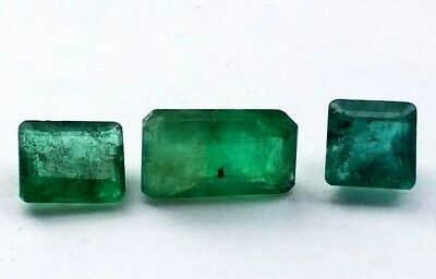 NO RESERVE Loose Emeralds 1.75 Carats of 3 Faceted Gemstones Gem Emerald WOW