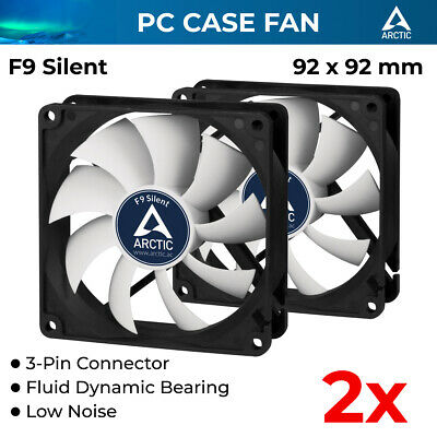2x Arctic Cooling Low Noise Case Silent Fan AC-F9-S 92mm 3-Pin Fluid Bearing