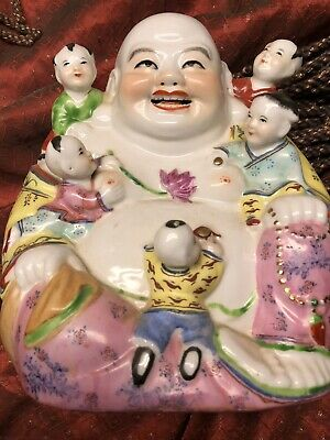 Antique/vintage Signed Porcelain Statue Of Laughing Buddha With Children.