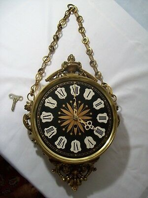 Vintage Mauthe Wind-Up Wall Clock Solid Brass on Hanging Chain 4 Jewels w/ Key