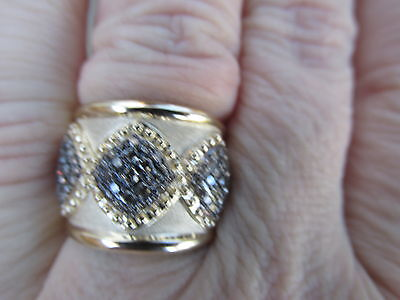 14 KT Yellow Gold Textured Cognac Diamond Design Wide Cigar Band Ring NEW Diamon