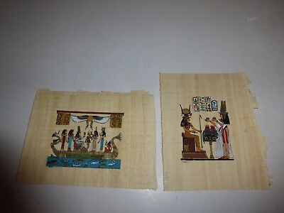 2 Lot New Hand Painted Egyptian Art on Papyrus: On a Barge at Sea and Sitting290
