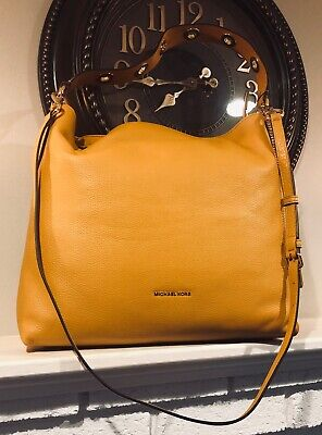 c92271f46af7 MICHAEL KORS BROOKLYN Large Leather Shoulder Bag in Yellow - $224.98 ...