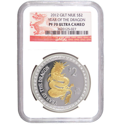 2012 $2 Proof Niue Silver Year of the Dragon Glided 1oz NGC PF70UC