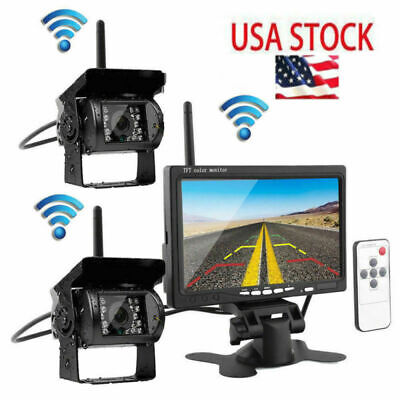 "7"" Monitor For RV Truck Bus + 2 x Wireless Rear View Backup Camera Night Vision"