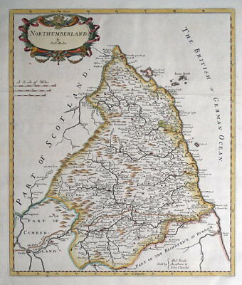 NORTHUMBERLAND, Robert Morden, original antique hand coloured map 1722