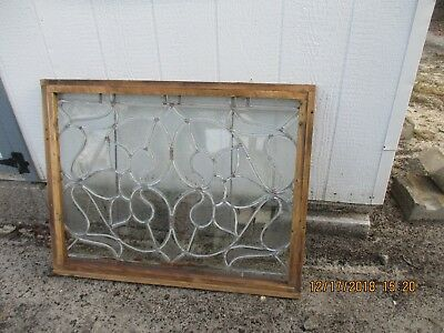 Bevelled Antique Leaded Glass  Window   38 X 30 Can Ship!!!!!!!