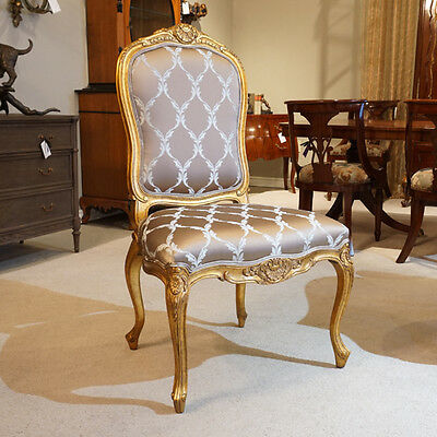 Single mahogany Side Chair in Gold Leaf and patterned fabric