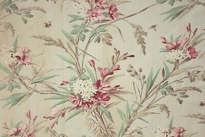 Antique Curtain w/ Floral + Insect pattern fabric w/ twill weave TIMEWORN 123in