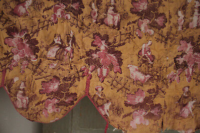 """Valance quilted fragment 1861 textile Normandy """"L'Amazone"""" Fabric Antique French"""