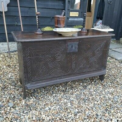 Fantastic Little 18th Century Carved Oak Coffer Plank Chest