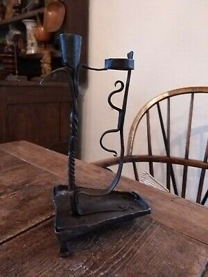 A Early Wrought Iron Candlestick And Rushlight Table Or Wall Hanging Rare...