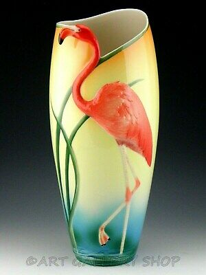 "Franz Porcelain FZ00075 FLAMINGO BIRD 17"" TALL LARGE VASE ART DECO Mint"