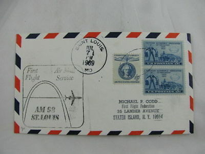 FFC first Flight USA America AM-98 pair stamps Saint Louis New Orleans 1969