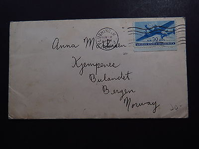 Cover United States New York Flushing to Bergen Norway Norvege 1945