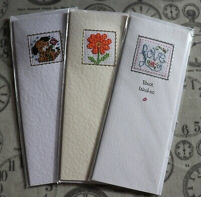 Handmade Completed Cross Stitch Notelets Cards x 3