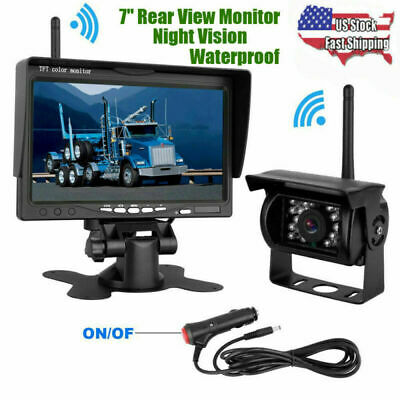 "7"" Monitor for RV Truck + IR Rear View Backup Wireless Camera Night Vision Kits"