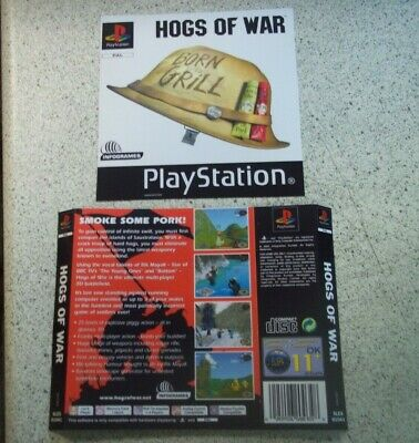 Hogs Of War PAL Playstation 1( PS1) Replacement Box Art Sleeve/ Inlay  Only.