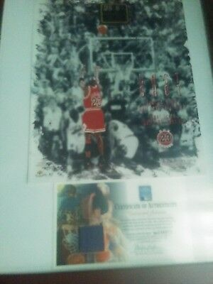 MICHAEL JORDAN FRAMED 8x10 AUTOGRAPHED LAST SHOT WITH PIECE OF COURT COA