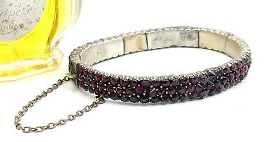 Antique Victorian sterling silver & rose cut garnets bangle