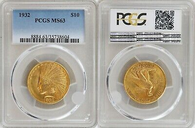 "USA: 10 $ Dollar 1932 "" Indian Head Eagle"" Gold PCGS MS 63"