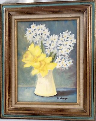 Small Vintage Folk Art Painting - Floral/Flowers in a Vase - Daffodils/Narcissus