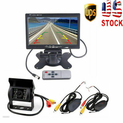 "Wireless 7"" Rear View Monitor Backup Camera Night Vision Kits For RV Bus Truck"