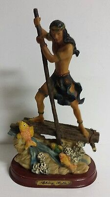 Ashley Belle Native American Indian Fishing Resin Art Sculpture Statue