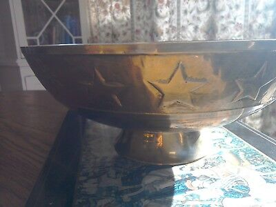 Very attractive heavy solid brass bowl decorated with sun,moon and stars.