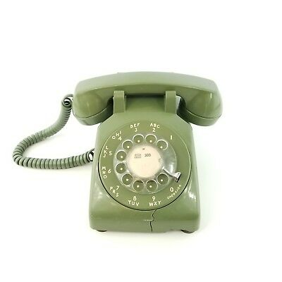 1955 Western Electric Rotary Phone Rotary Dial Desk Telephone Olive Green