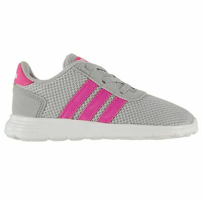 online store 10294 a8eff adidas Lite Racer Trainers Infant Girls Grey Pink Shoes Footwear