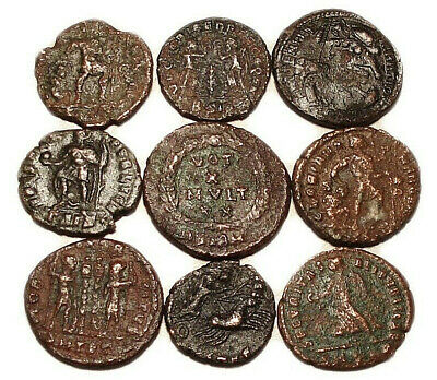 Lot of 9 Æ3-4 Ancient Roman Bronze Coins from IV. Century