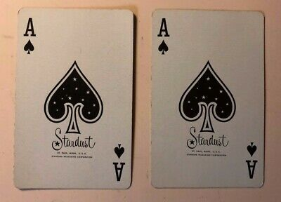 2 Vintage Playing Cards ~ Summer & Winter Scenes ~ Both Stardust Ace of Spades