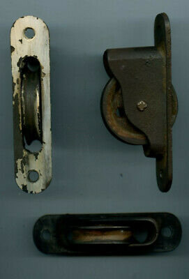 Lot Of 3 Antique Window Weights Rollers Sash Rope Pulleys Cast Iron - 1890's