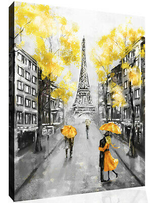 Yellow Black & White Paris Oil Painting Canvas Wall Art Picture Print