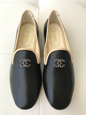 16f22f8470a  750 Chanel Cc Logo Black And Beige Leather Loafers Moccasins Shoes 37.5