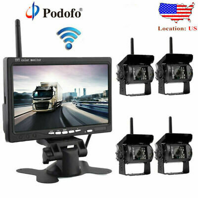 "Wireless IR Rear View Backup Camera System + 7"" Monitor For Truck RV Car 12-24V"