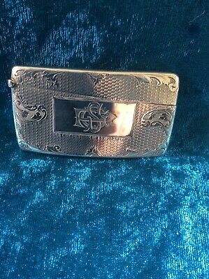 Antique Sterling Silver Card Case - Beautifully Engraved - Birmingham 1901