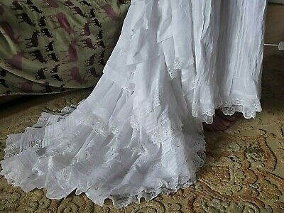 Exquisite Antique Victorian Wedding Lawn Cotton Petticoat Ruffles & Lace