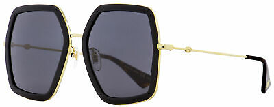 Gucci Square Sunglasses GG0106S 001 Black/Gold/Havana 56mm 0106