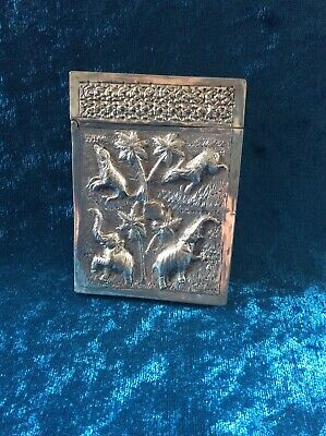 Antique Indian Silver Card Case - Lucknow - Decorated With Elephants & Birds