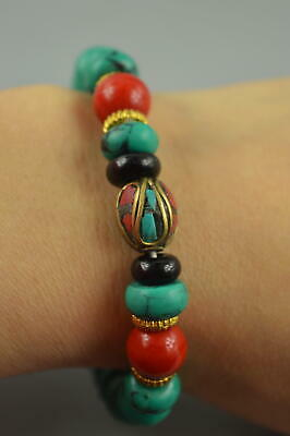 AAA Decorate Collect Turquoise Carve Buddha Bead Unique Noble Elastic Bracelet