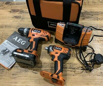AEG 18v 2 Piece Li-ion Set - Impact Driver, Drill, Battery, Charger & Bag