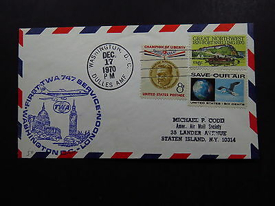 FFC Cover United States First TWA 747 Service Washington London 1970
