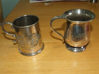 Two Silver plated  Christening Cups