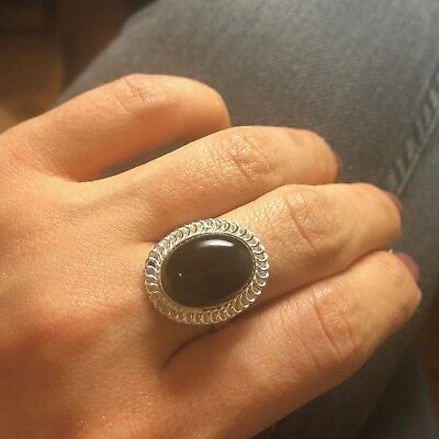 Size 8.5 Natural Oval Black Onyx Gemstone Silver Plated Statement Ring Handmade