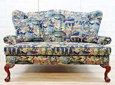 Queen Ann Wingback Georgian Irish Claw & Ball Titanic Embroidered Tapestry Sofa