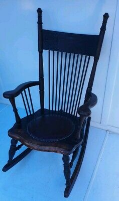 Beautiful Antique Pressed Back Rocking Chair