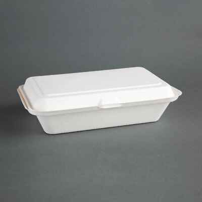 Fiesta Green Compostable Bagasse Hinged Food Containers 248 x 161mm 250 Pcs